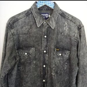 Vintage Wrangler Pearl Snap Black Acid Wash Shirt